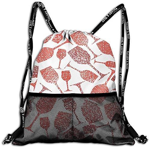 DPASIi Bolsa de cordón con anillo de cordón, mochila multicolor para copas de vino, rojo, bolsa de viaje, bolsa de yoga, bolsa de zapatos de poliéster, cierre de cuerda ajustable
