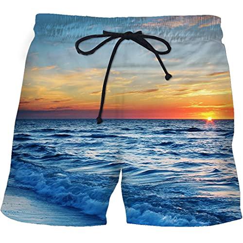 JCNHXD Pantalones Cortos de Playa de Tallos de Menores Blue Llame 3D Imprimir Rápido Secado Hombre Fitness Shorts 22 XL