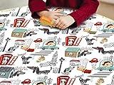 Mantel Hule Dibujos Infantiles de Perritos en Londres sobre Fondo Blanco, Kids (140_x_100_cm)