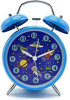 Savman 4インチ 目覚まし時計 アナログ おしゃれ 大音量 置き時計 ベル バックライト 電池式 明かり 光る 針時計 アラーム 単三 (Blue)