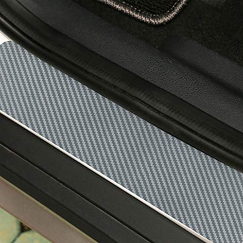 ZZH Seuil De Voiture Autocollants 4 PCS 3D en Fiber De Carbone Dustproof Sunproof Film Extérieur Voiture Porte Autocollants_Argent