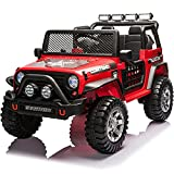 sopbost 12V Ride on Car for Kids Ride On Truck with Remote Control, Power Wheels Ride on Toy Car with Large Seat , Electric Vehicles Kids Car with Wheels Suspension, LED Lights, Music, Bluetooth, Red