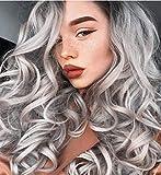 ChuYao Ombre - Pelucas degradadas para mujer, fibra de alta temperatura natural de cuerpo largo ondulado ombre pelucas que te, raíces oscuras del lado medio sintético para las mujeres peluca