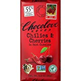 Chilies and Cherries in Dark Chocolate 55% 3.20 Ounces (12 Bars)