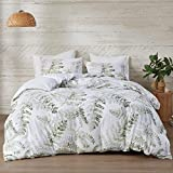 Intelligent Design Reversible 100% Cotton Duvet - Breathable Sateen Comforter Cover, Modern All Season Bedding Set with Sham (Insert Excluded), Judith, Palm Leaf Green King/Cal King(104'x90')