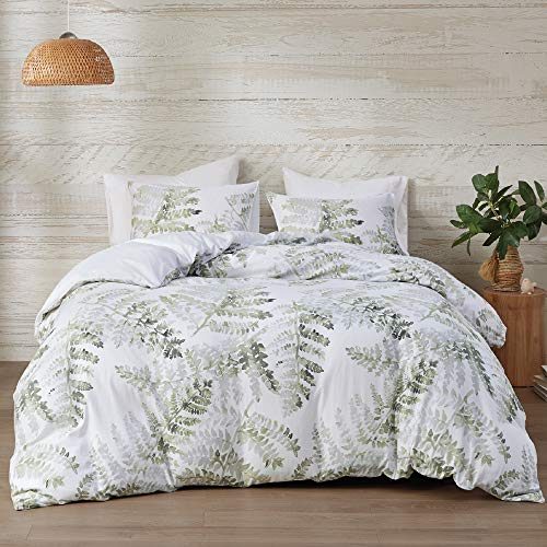 Inspire by Intelligent Design 3 Piece Duvet Cover (Insert Sold Separately) Cotton Sateen, Modern All Season Bedding Set with Matching Sham, Judith Palm Leaf Green