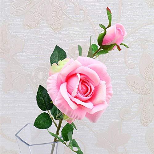 Künstliche Blume Künstliche Rose Blumen Für Baby-Dusche Geburtstag Hausgarten Geschenkbox Dekoration Braut Hochzeit Valentinstag Blumenstrauß 2 Blumen Köpfe Pink2