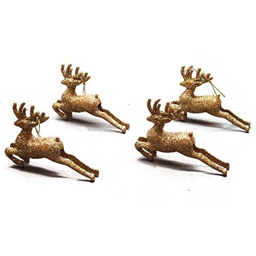 4 Small Gold Festive Christmas Sparkling Glitter Reindeer Decorations
