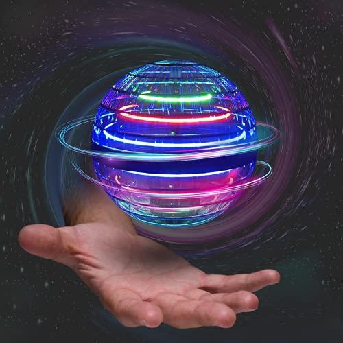 Papi Dada Mini dron con bola voladora, giratorio 360°, mando mágico, recargable por USB, luces RGB integradas, juguetes mágicos, utilizable en interiores y exteriores [2021 actualizado] (azul oscuro)
