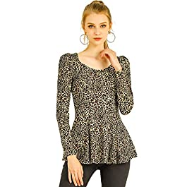 Allegra K Women's Leopard Print Long Sleeves Scoop Neck Animal Blouse Top