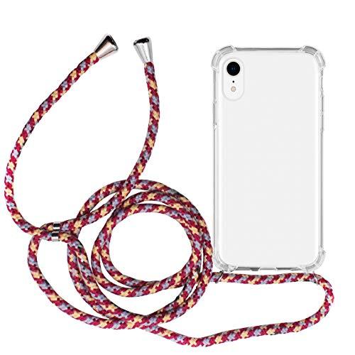 MyGadget Funda Transparente con Cordón para Apple iPhone XR - Carcasa Cuerda y Esquinas Reforzadas en Silicona TPU - Case y Correa - Multicolor
