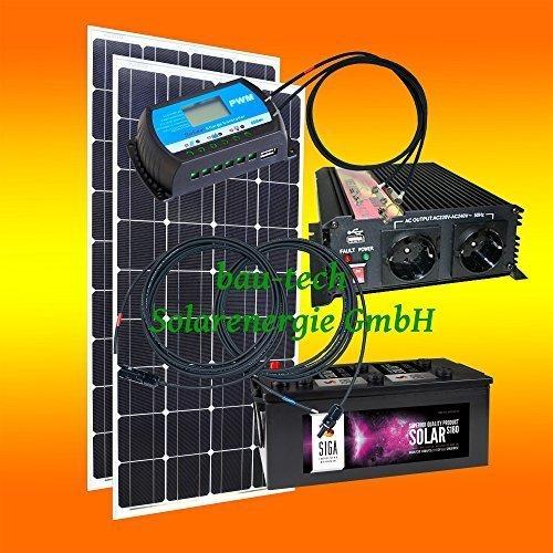260 Watt Inselanlage, 12 Volt Komplett SET mit Spannungswandler mit Batterie von bau-tech Solarenergie GmbH