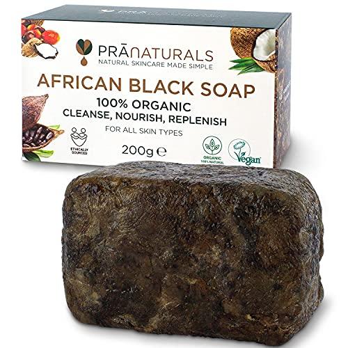 PraNaturals Jabón Negro Africano 200g, Orgánico y Vegano para Todo Tipo de Pieles, de Origen y Artesanal en Ghana Tropical
