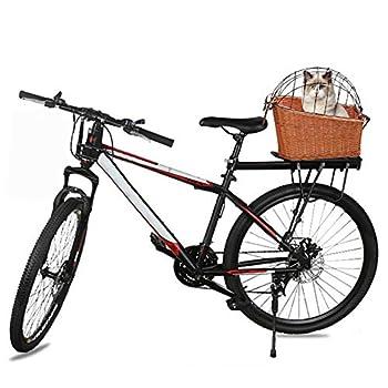 iBàste Panier de vélo en Osier arrière Panier de vélo Willow à Montage arrière pour Chats Chiens jusqu'à 25lbs