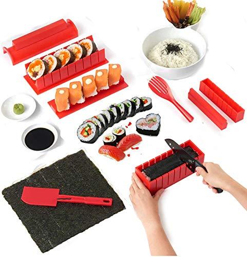 Kit para Hacer Sushi,10 Pcs Sushi Maker kit, Juego de Sushi Equipo para Hacer Sushi Set de Sushi kit del Fabricante Fácil y Divertido DIY Set de Sushi Roll Arroz Rollo Molde - Rollitos de Maki (ROJO)