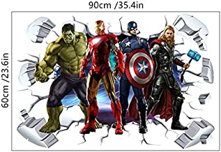 3D Broken Wall Hollywood Movie Comics Carácter Superhéroe etiqueta de la pared Verde Iron Thor capitán Hombre PVC Decal mural poster dormitorio decoración niños regalo