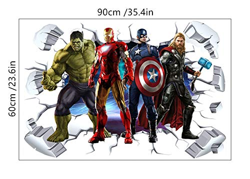 3D Broken Wall Hollywood Movie Comics Character Superhero Wall Sticker Green Iron Thor Captain Man PVC Decal Mural Poster Bedroom Decoration Kids Gift