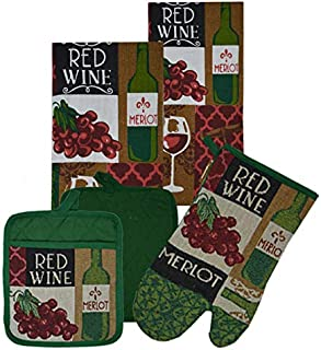 100/% Cotton Kitchen Linen Set. Winery GinsonWare Set 4 2 Dishes Clothes /& 2 Oven Mitts