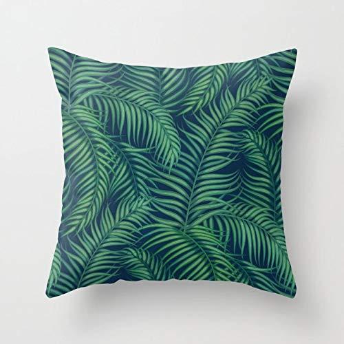 INS Tropical Leaves Throw Pillow Case Girl Tiger Leaves Fundas de cojín para el hogar Sofá Silla Fundas de A21 45x45cm