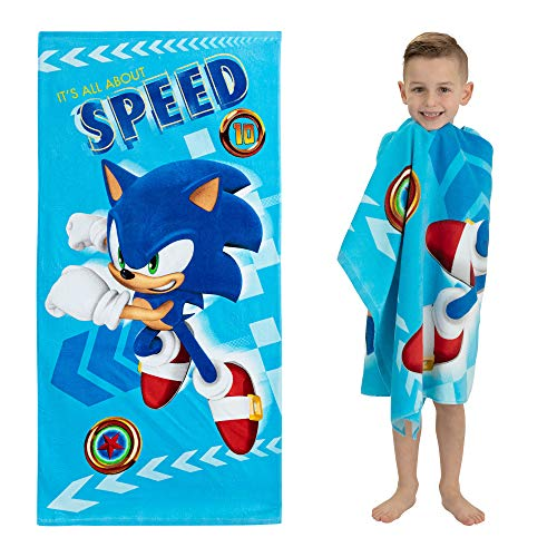 Franco Kids Super Soft Cotton Beach Towel, 28 in x 58 in, Sonic The Hedgehog