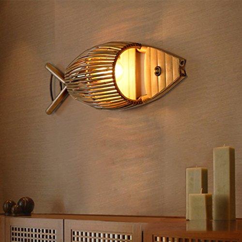 UanPlee LED Aplique Creativo Sencillo Wall Light Cafe Bar Tea Room Sala Restaurante Pescado a la Parrilla luz de bambú Pizarra Ligero Ligero de la Pared de Pescado. 1