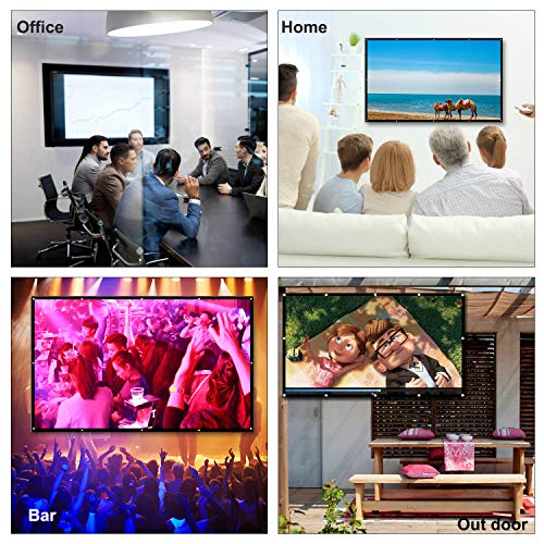 Docooler Projector Screen 150 Inch Portable Projector Screen 16:9 HD White Mounted Foldable Home Theater for Office Projection Indoors Outdoors Video Movies