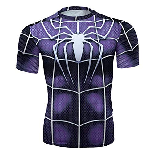 WYRDD Femmes Compression T-Shirt Mouvement Collants Sport Fitness Vêtements Superhero Shirt Fitness Manches Courtes Mouvement Fitness Jogging Top J-S