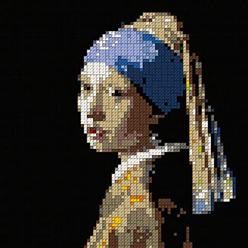 The Girl With A Pearl Earring Mosaik - 80 x 80 studs, plano