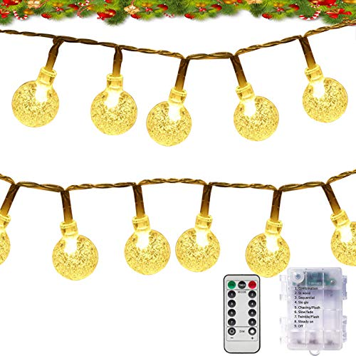 GaHeslop Globe String Lights Battery Operated Fairy Lights 36ft 60LED Crystal Ball Christmas Lights with Remote and Timer, 8 Modes Decorative Lighting for Xmas Tree Decor Indoor Outdoor (Warm White)
