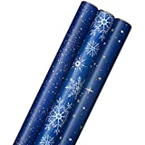 Hallmark Holiday Wrapping Paper with Cut Lines on Reverse (3 Rolls: 120 sq. ft. ttl) Starry Snowflakes, Winter Galaxy, Navy Blue, Gold for Christmas, Hanukkah, Birthdays, Graduations, Weddings
