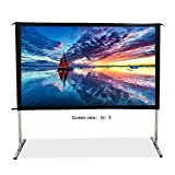 SW-LAMP Indoor Outdoor Projector Screen 16:9 Fast Folding Portable Screen 90 inch Large Projection Screen Front Projection for Camping or Home Theatre (16:9-80 Inch)