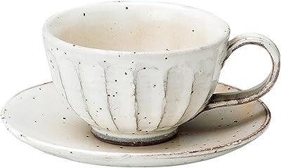 宗峰窯 コーヒーカップ 粉引 鉄彩 カップアンドソーサー カップ:φ9×6cm(200cc) ソーサー:φ14cm 749-20-083