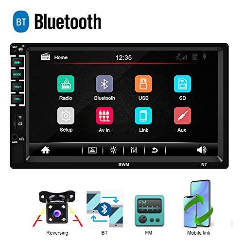 Bluetooth 2 DIN Radio de Coche CAMECHO Pantalla t/áctil capacitiva de 7 Pulgadas Enlace Espejo para tel/éfono iOS//Android Receptor de FM Autom/óvil MP5 USB SD AUX C/ámara Trasera