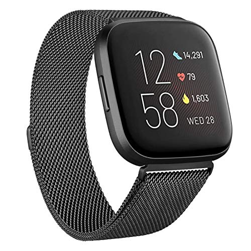Funeng Kompatibel mit Fitbit Versa 2 Armband/Fitbit Versa Armband, Edelstahl Handgelenk Metall Ersatzband Kompatibel mit Fitbit Versa/Versa 2/Versa Lite (#Schwarz, Small)