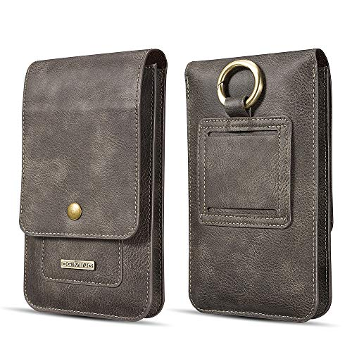 Case for iPhone XS MAX 6.5,WIWJ Slim-Fit Premium Leather Case Fashion Wallet Card Holder with Lanyard Case Flip Case Kicktand Shockproof Case for iPhone XS MAX 6.5 Case-Grey