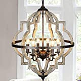 T&A Orb 6-Light Farmhouse Chandelier, Stardust Finish Rustic Brown Chandelier,Wood and Iron Component Vintage Island Light for Kitchen Dining Room Foyer