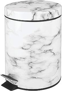 mDesign Poubelle à pédale 5L – en métal avec Couvercle et Seau Plastique – Parfaite comme Poubelle sous évier, Corbeille à...