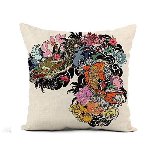 N\A Throw Pillow Cover Dragon and Koi Fish Flower Tattoo for Arm Funda de Almohada Japonesa Decoración del hogar Funda de Almohada de Lino de algodón Cuadrada Funda de cojín