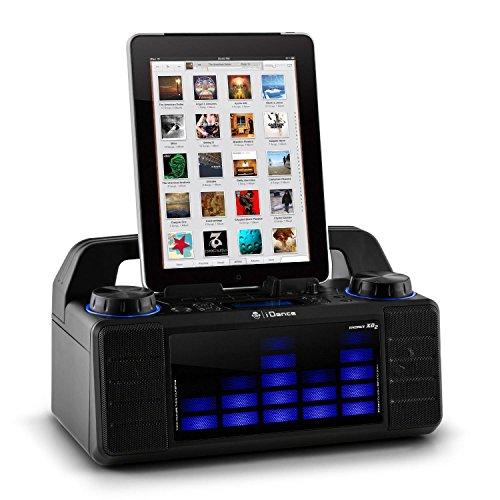 iDance Energy XD2 tragbarer Party-Lautsprecher-Box mit LED-Effekt-Beleuchtung (AUX, Radio, Mixer, Bluetooth,MP3-fähiger USB-Slot, Mikrofon-Eingang, 15 Watt RMS) blau-schwarz