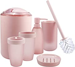 iMucci Bathroom Accessories Set - with Trash Can Toothbrush Holder Soap Dispenser Soap and Lotion Set Tumbler Cup Pink IZ0...