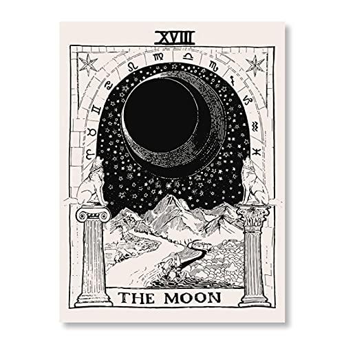 KHKJ Tapiz de Arte de Pared con Bandera de Tarot psicodélico La Luna El Sol Colgante de Pared Astrología Adivinación Colcha de Playa Esteras A3 200x150cm