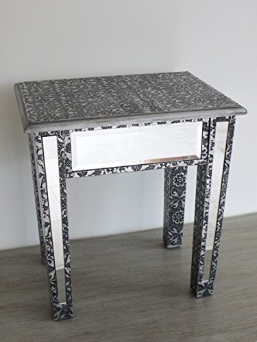 DID Ltd Silver Embossed Mirrored Lamp Table Occasional Table