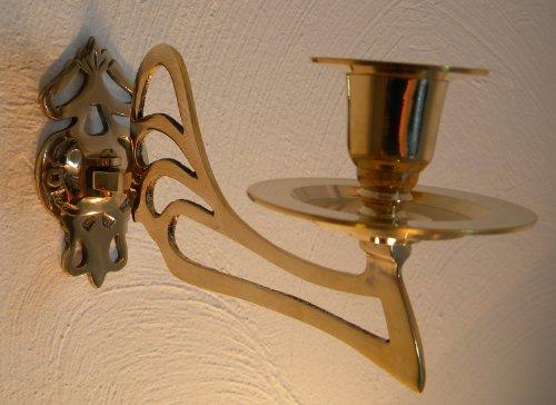 Klavierleuchter Kerzenleuchter Wandleuchter einarmig ART DECO Messing Farbe gold / golden