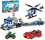 City Police Catch Thief Building Kit with City Police Helicopter Transport Truck Toy, Action Cop Helicopter, Motorbike, and Getaway Sports Car for Boys and Girls 6-12 (469 Pieces)