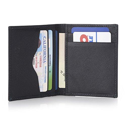 Alpine Swiss RFID Business Card Case Wallet Crosshatch Black