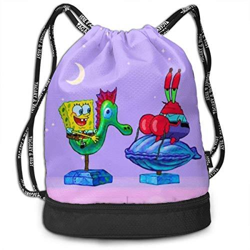 XCNGG Drawstring Bag Stylish Spongebob and Krabs Lightweight Sackpack Sport Gym Bundle Backpack