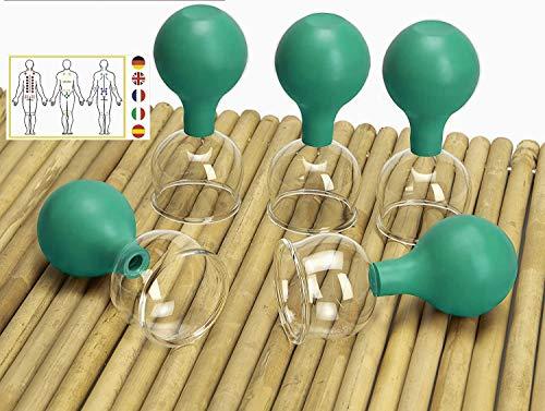 Lunata [Upgrade 2020] 5er Schröpfglas Set mit Saugball, 50 mm, Schröpfgläser für eine professionelle Schröpfmassage um Verspannungen lösen und Schmerzen lindern, Farbe: Grün