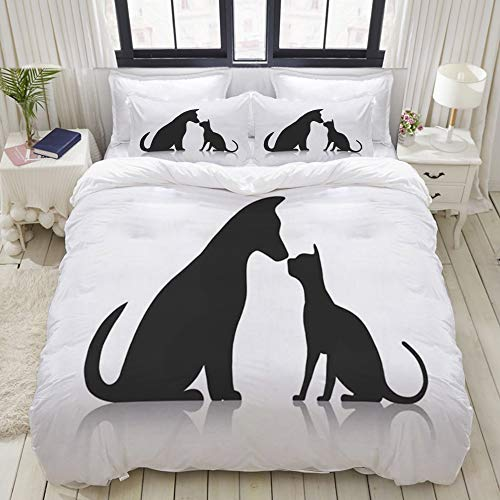 Yaoniii bedding - Duvet Cover Set, Friends Pet Animals Wildlife Dog Friendly Silhouette Together Puppy Commercial Sitting Profile Gro,3-Piece Comforter Cover Set 200 x 200 cm +2 Pillowcases 50 * 80cm