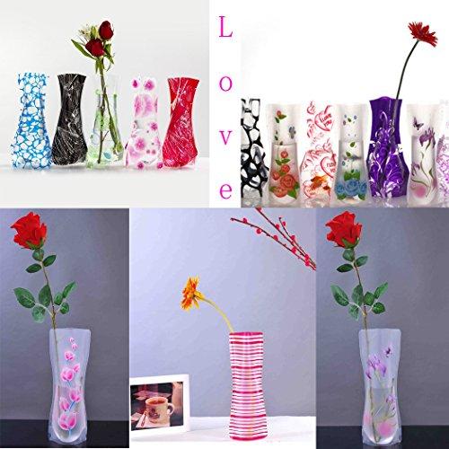 Abcsea 10 Stück faltbare Blumenvase, faltbare Plastikvase ,transparente faltbare Vase (zufällige Stile)
