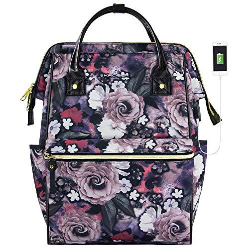 KROSER Rucksack Damen Laptop Rucksack 15,6 Zoll(39,6cm) Schulrucksack Frauen Mädchen Teenager Wasserdicht Nylon mit USB-Ladebuchse für Arbeit/Universität/Schule/Reisen Blume Rosenmuster MEHRWEG